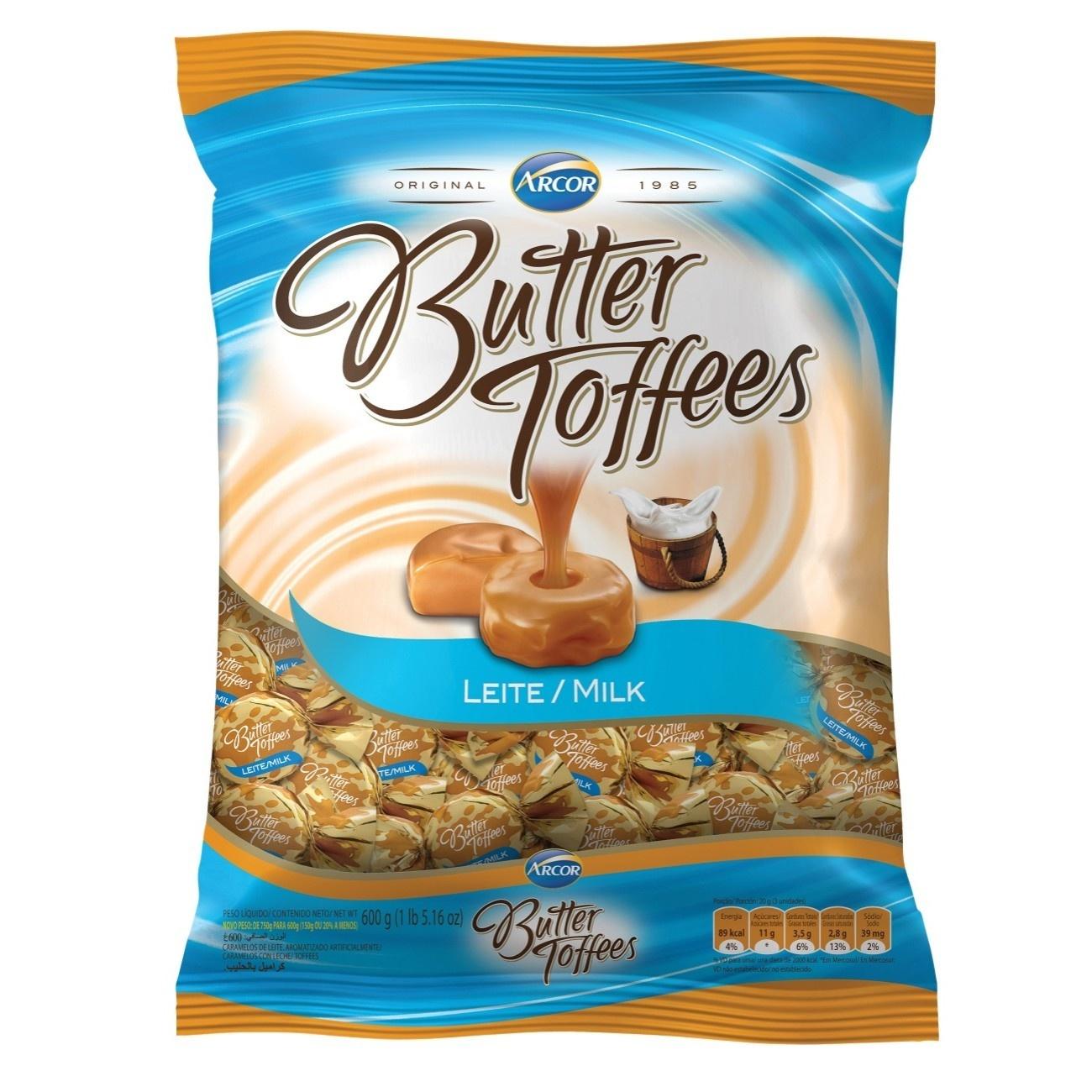 Bolsa de Bala Butter Toffes Leite 600g (92 un/cada)