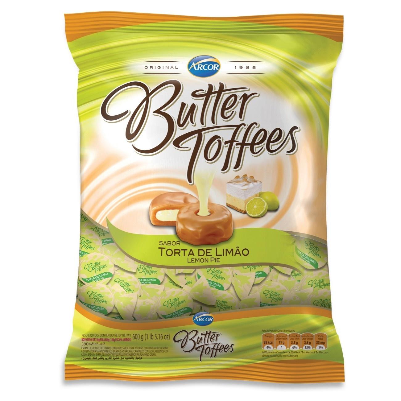 Bolsa de Bala Butter Toffes Torta de Limão 600g (92 un/cada)