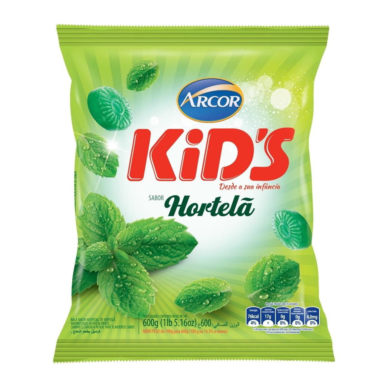 Bolsa de Bala Kids Hortelã 600g (120 un/cada)