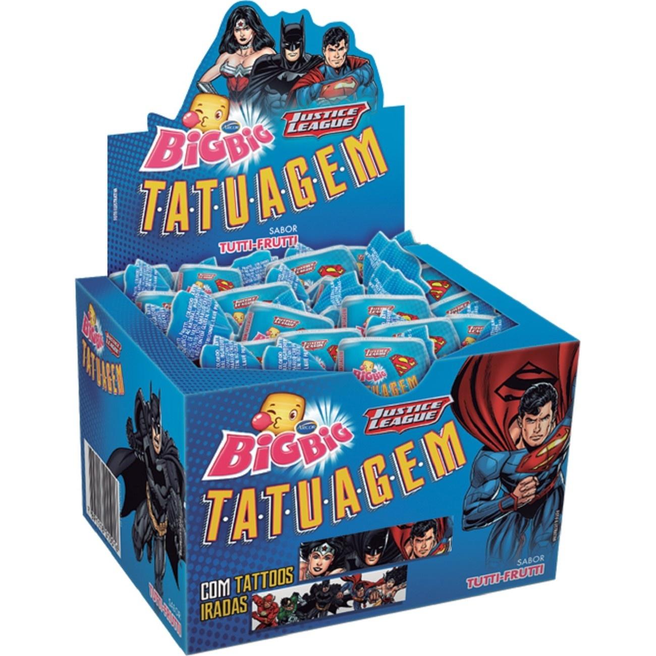 Display de Chicle Bigbig Tatto Liga Da Justiça 315g (90 un/cada)