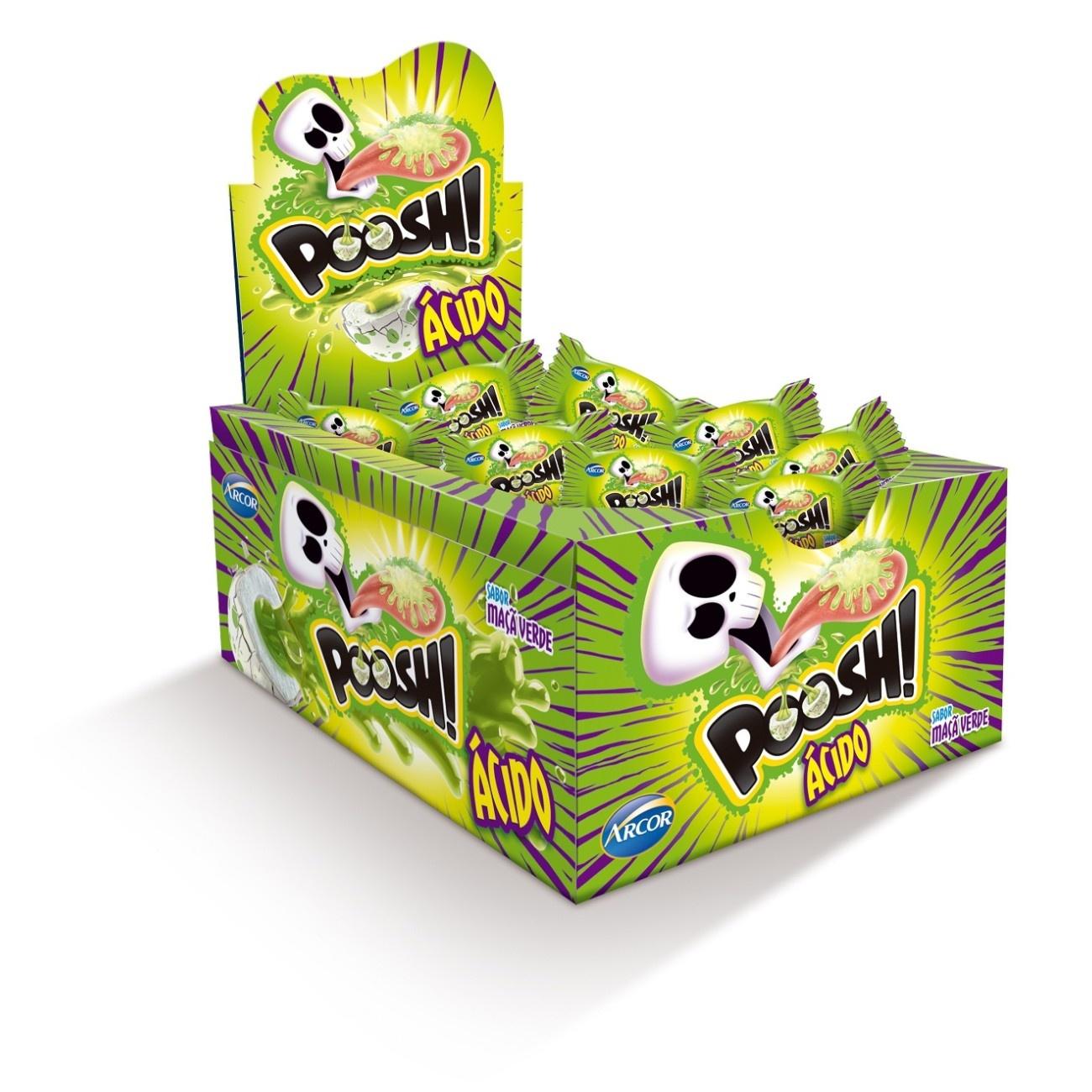 Display de Chicle Poosh Ácido Maçã Verde 200g (40 un/cada)