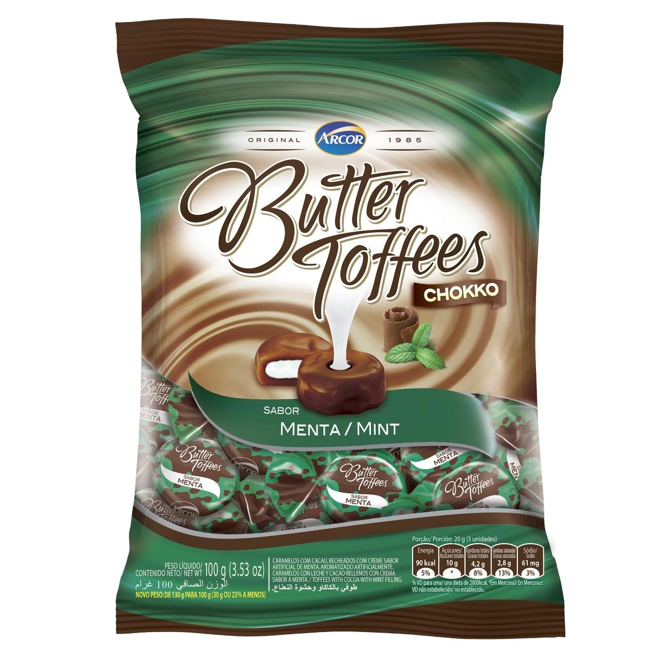 Bala Butter Toffes Chokko Menta 100g (16 un/cada)