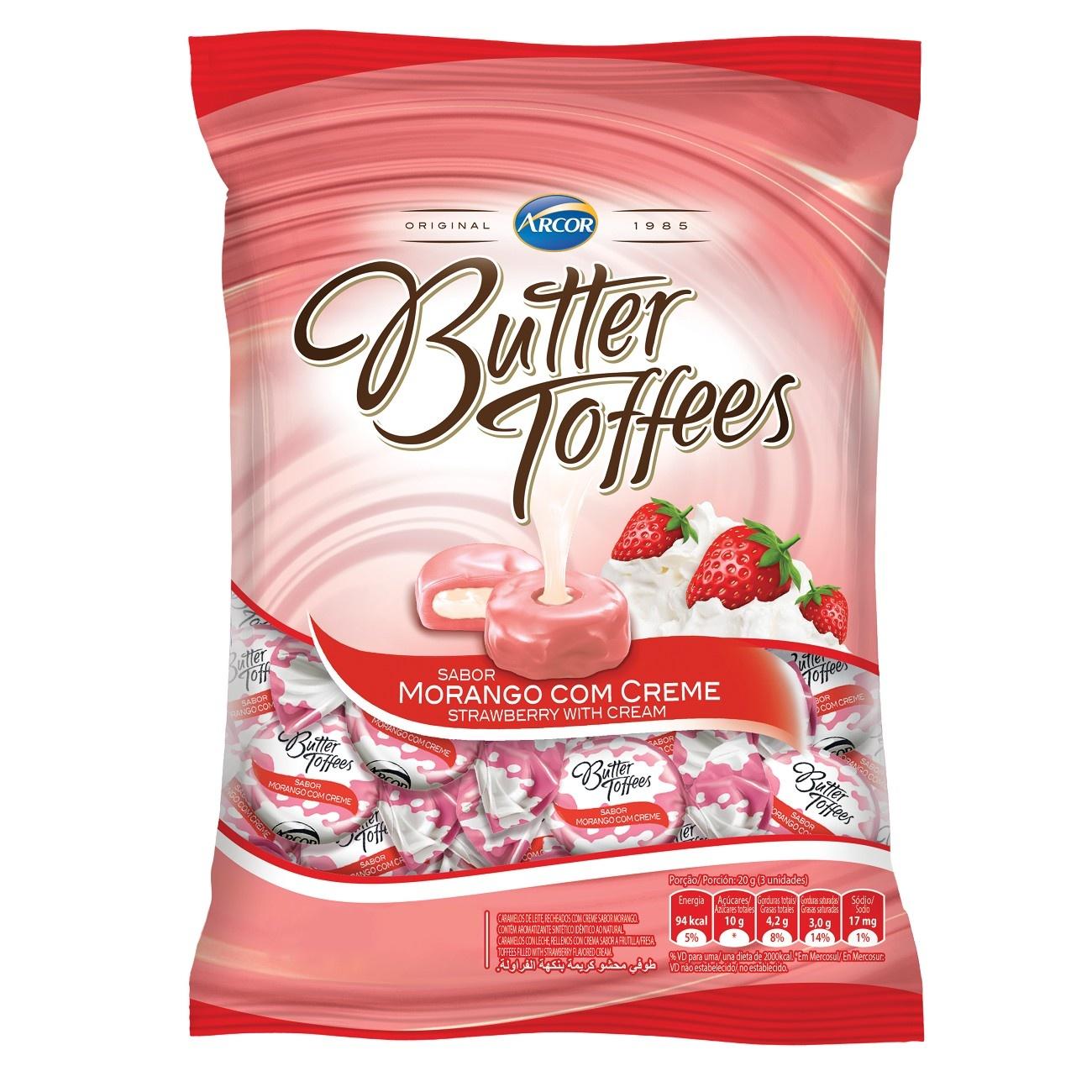 Bolsa de Bala Butter Toffes Morango com Creme 600g (92 un/cada)