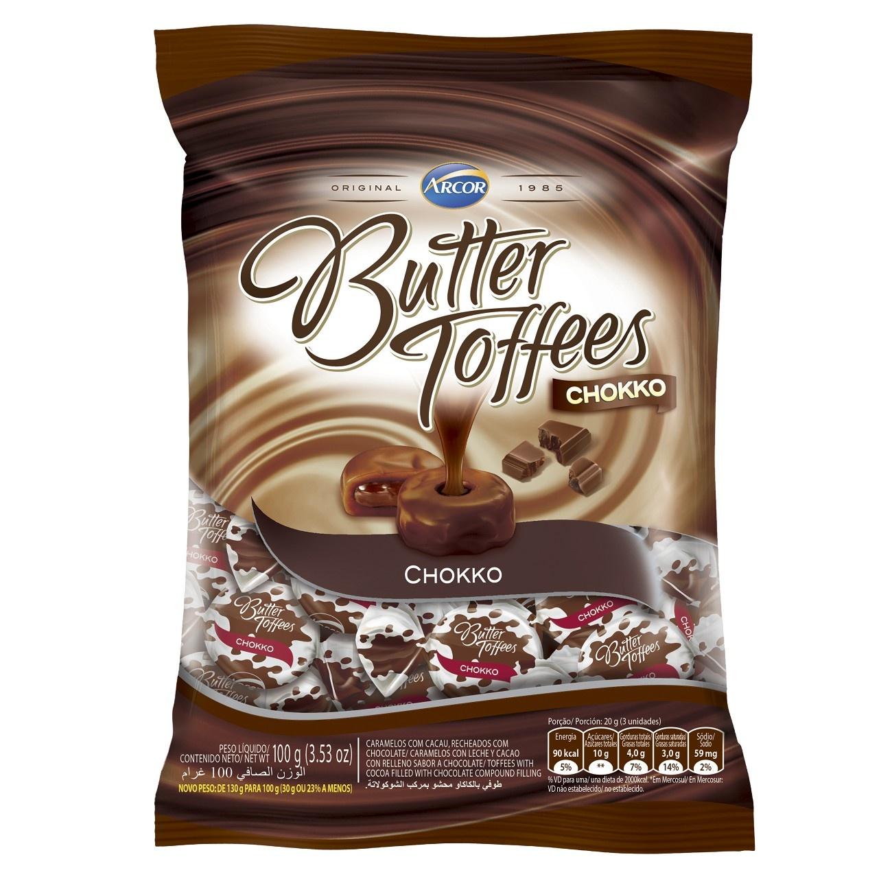 Bala Butter Toffes Chokko Choco 100g (16 un/cada)