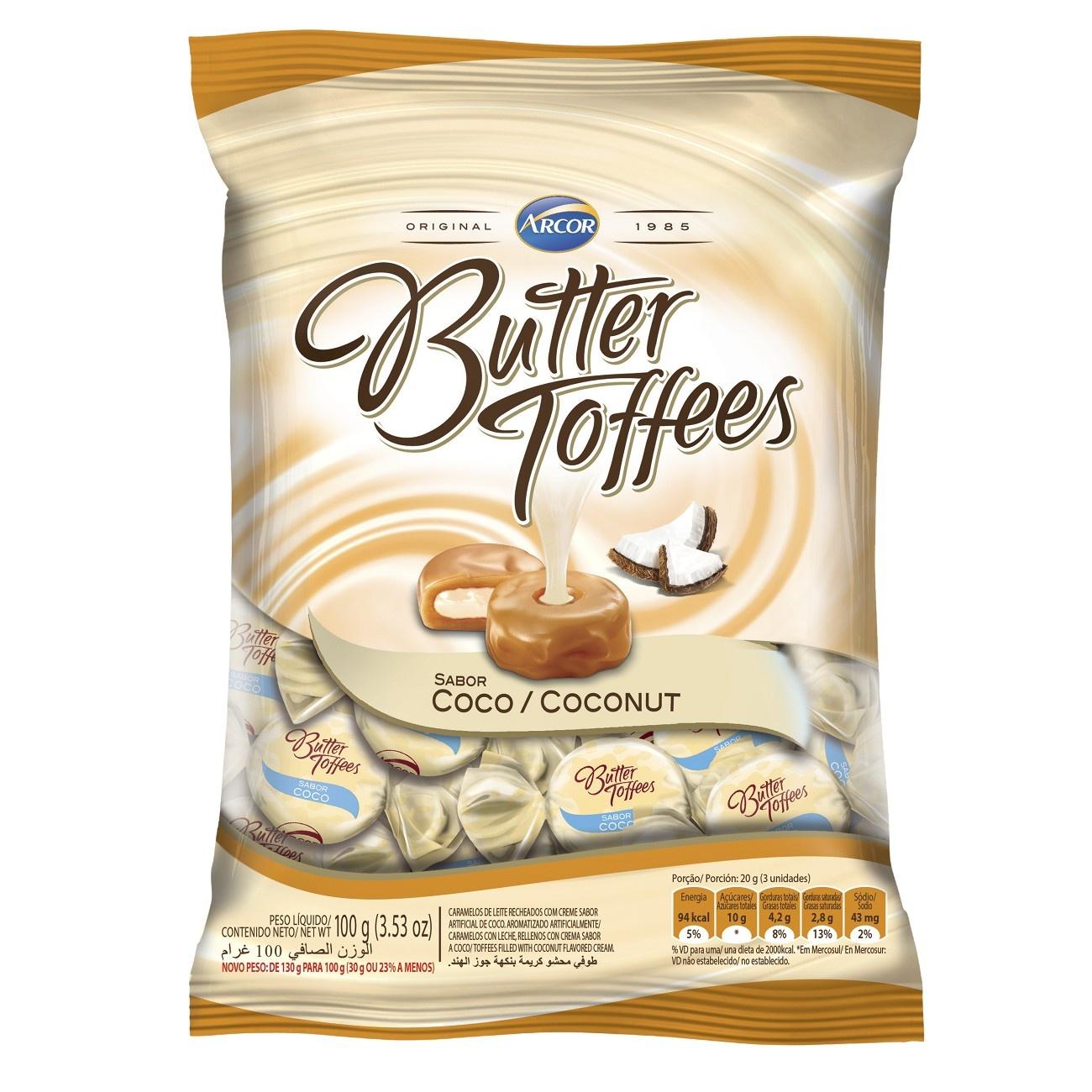 Bala Butter Toffes Coco 100g (16 un/cada)