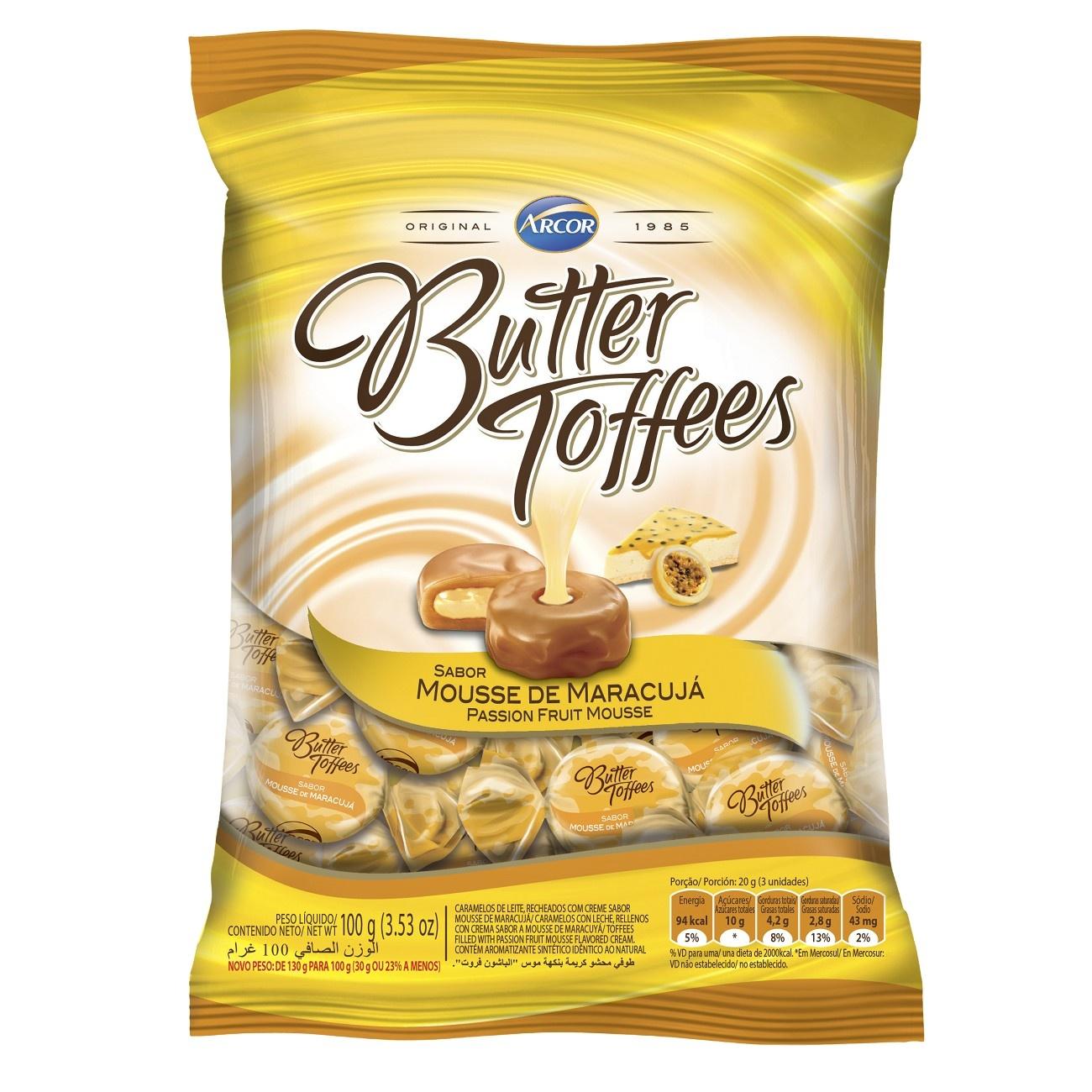 Bala Butter Toffes Mousse de Maracujá 100g (16 un/cada)