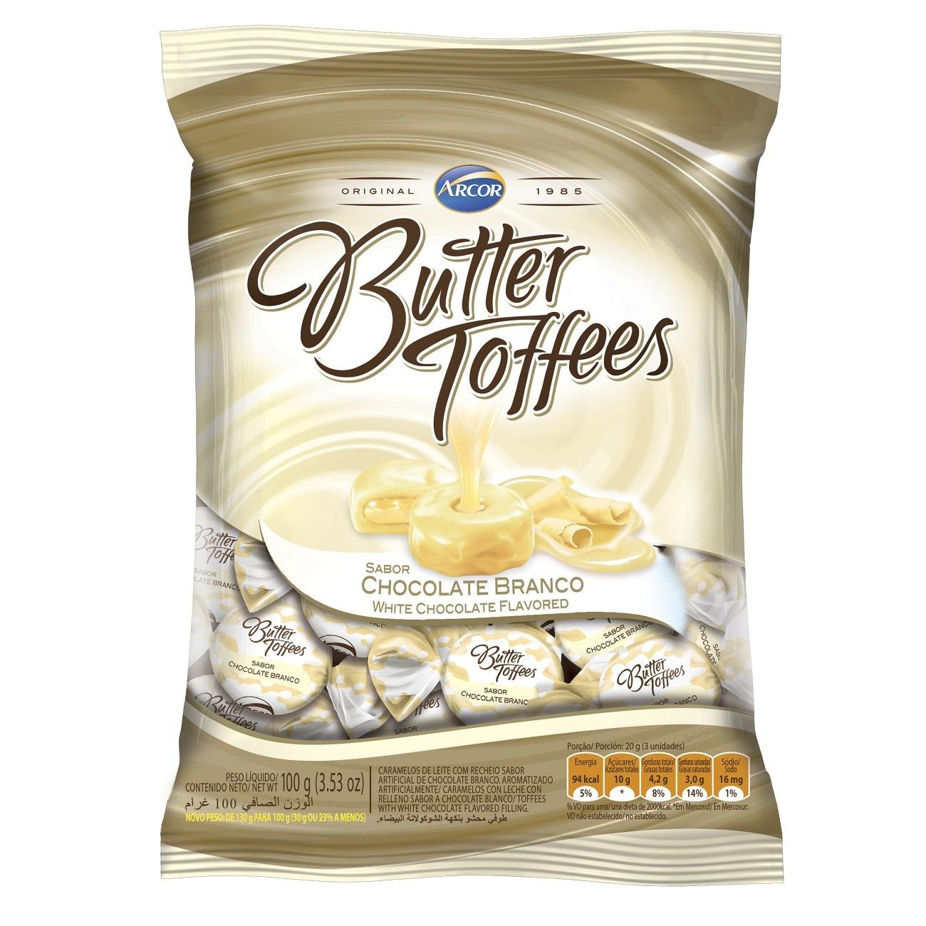 Bala Butter Toffes Chocolate Branco 100g (16 un/cada)