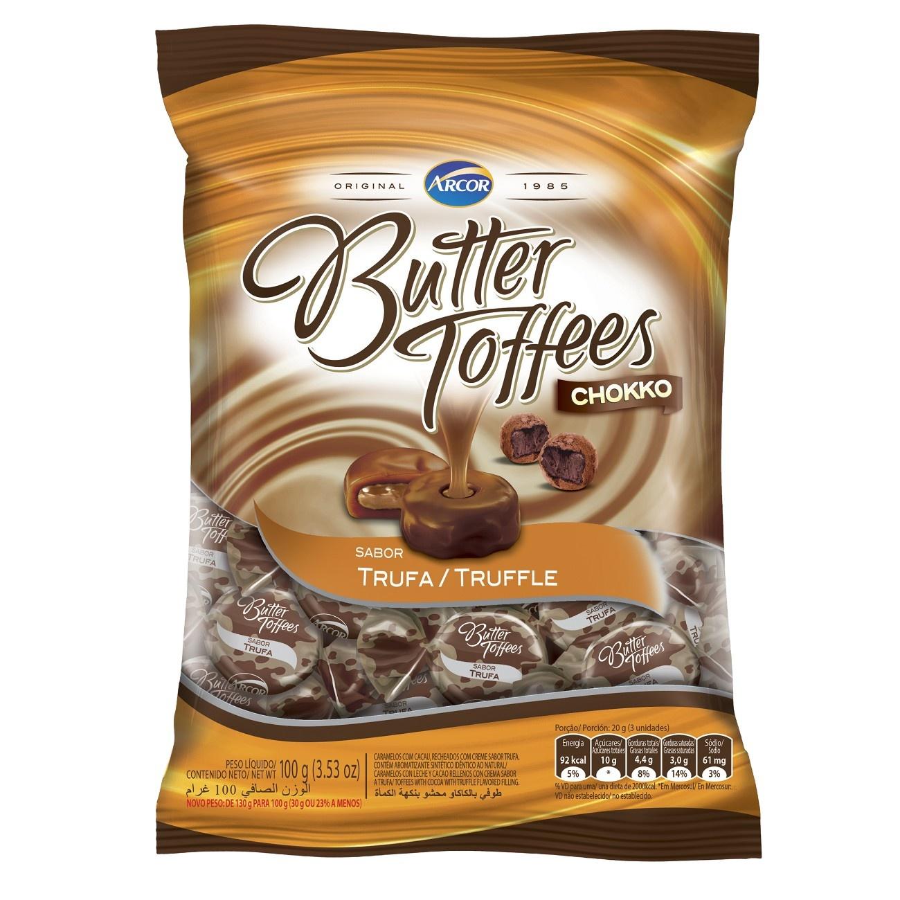 Bala Butter Toffes Chokko Trufa 100g (16 un/cada)