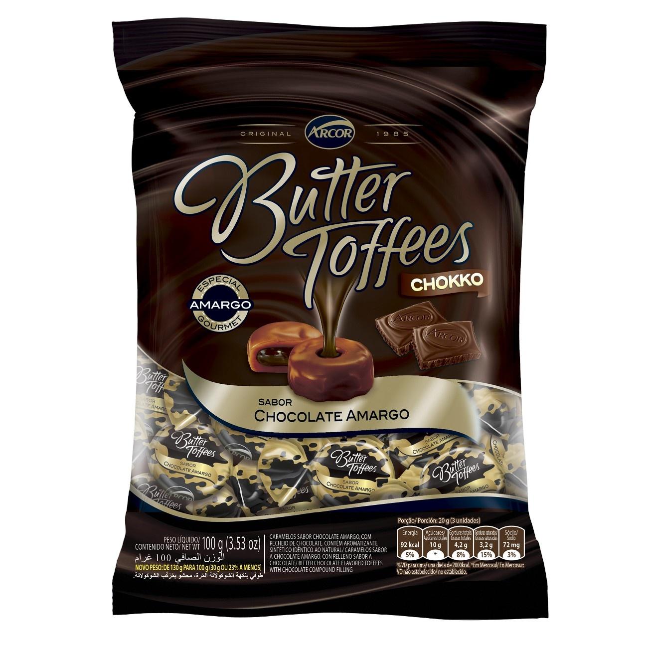 Bala Butter Toffes Choco Amargo 100g (16 un/cada)