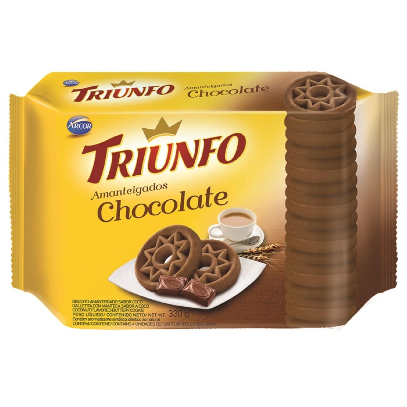 Biscoito Triunfo Amanteigado Chocolate 330g Multipack