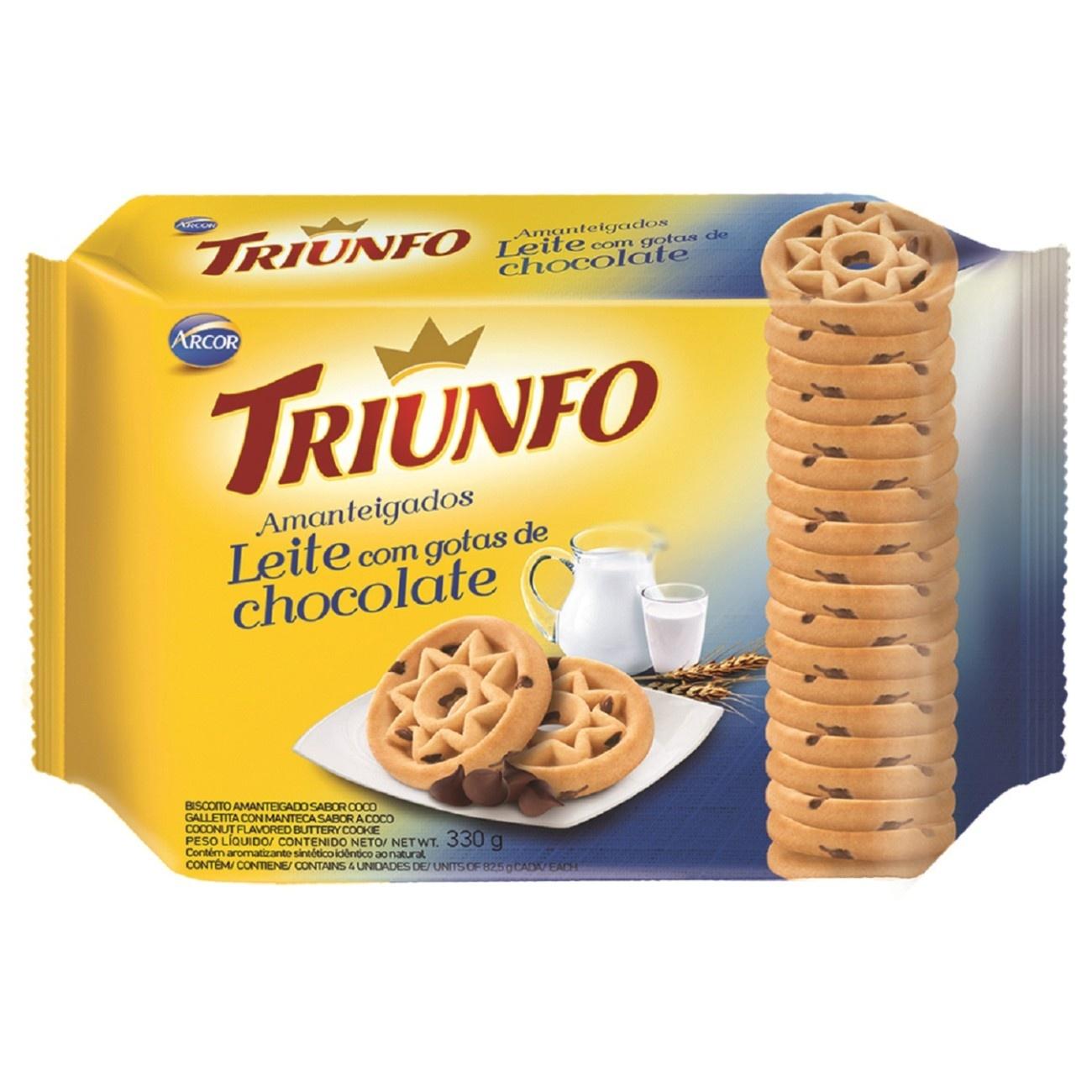 Biscoito Triunfo Amanteigado Leite Goatas Choco 330g Multipack