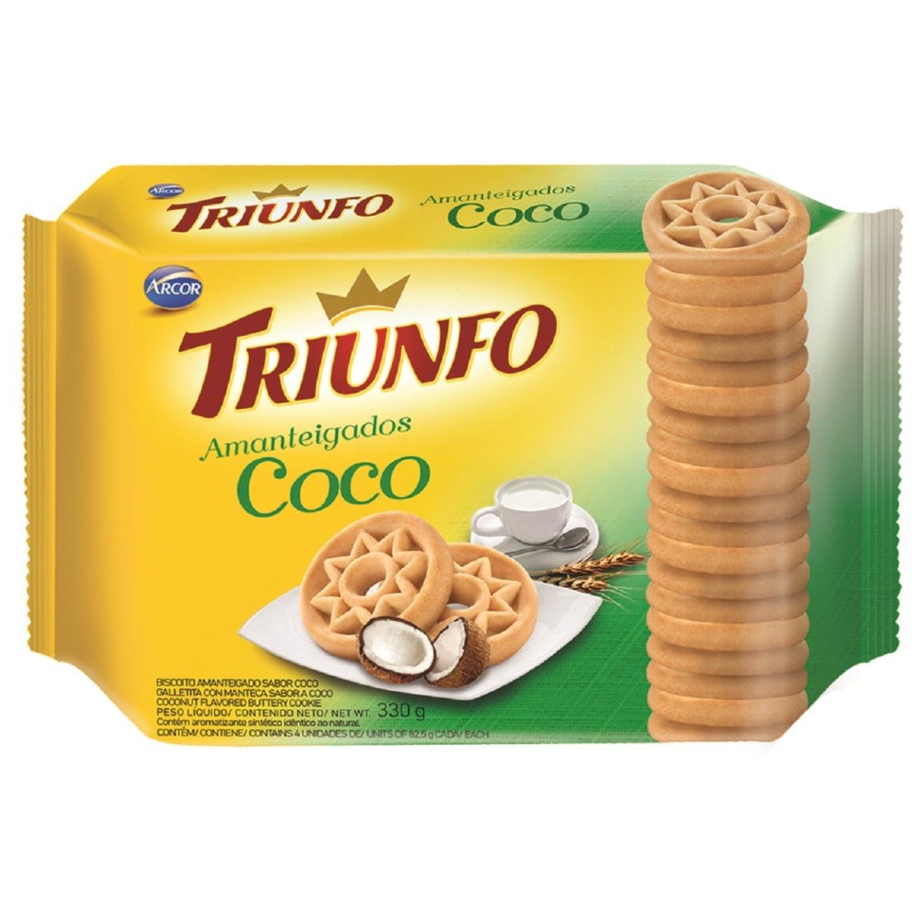 Biscoito Triunfo Amanteigado Coco 330g Multipack