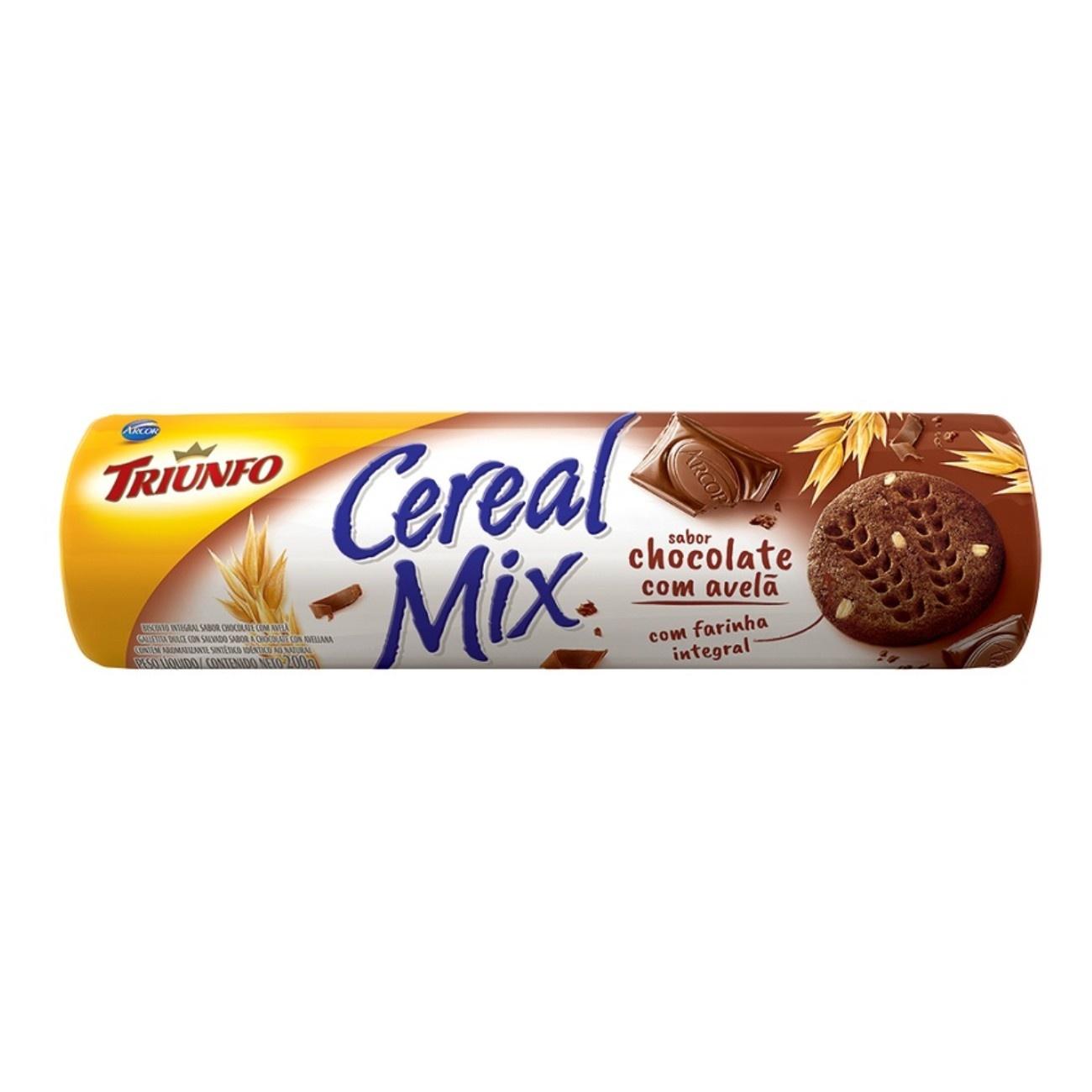 Biscoito Triunfo Cereal Mix Chocolate com Avelã 200g