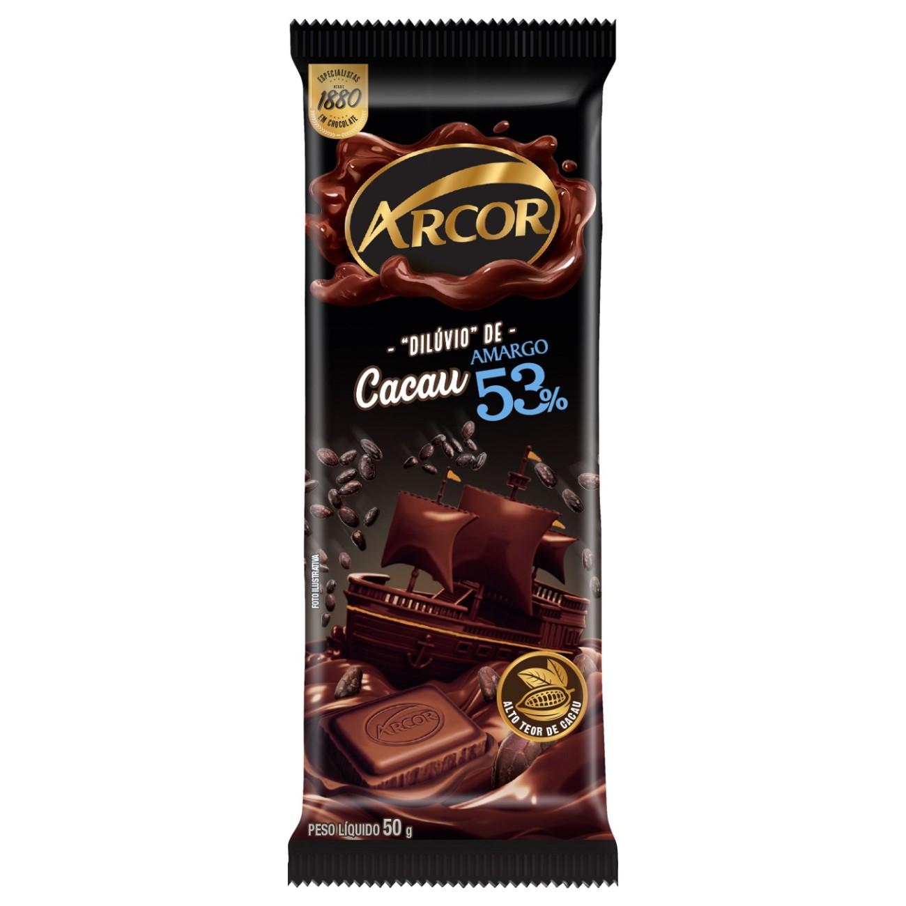 display de Tablete de Chocolate Arcor Amargo 53% 50g (12 un/cada)