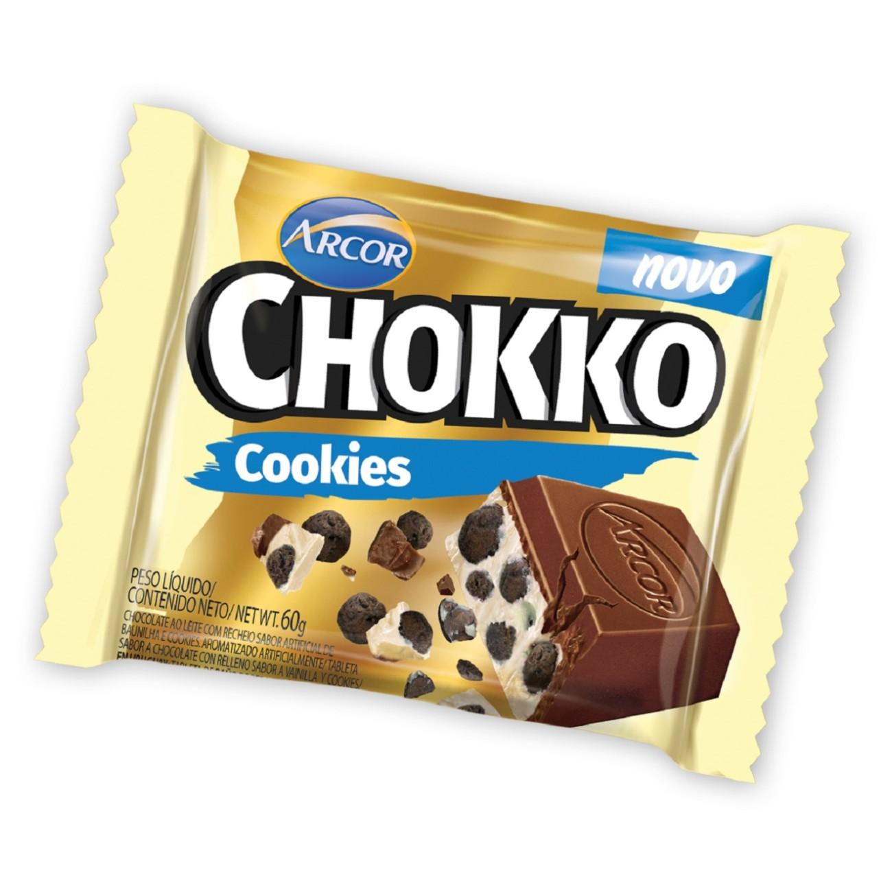 Display de Tablete de Chocolate Chokko com Cookies 60g (12 un/cada)