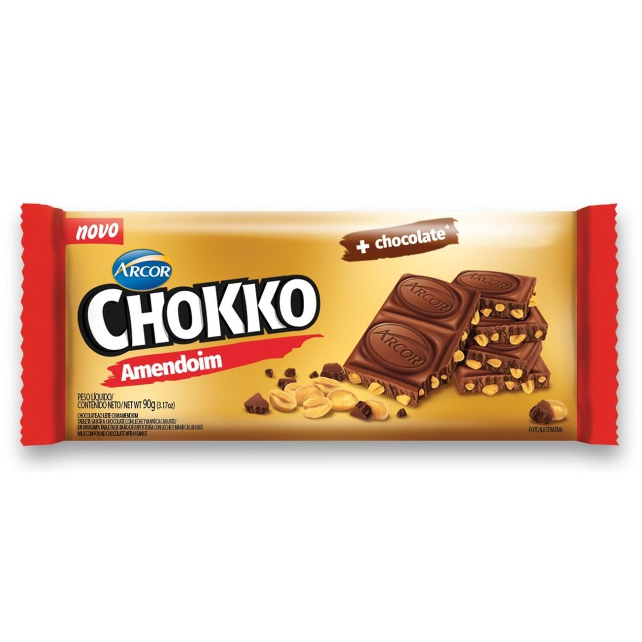 Display de Tablete de Chocolate Chokko com Amendoim 90g (12 un/cada)