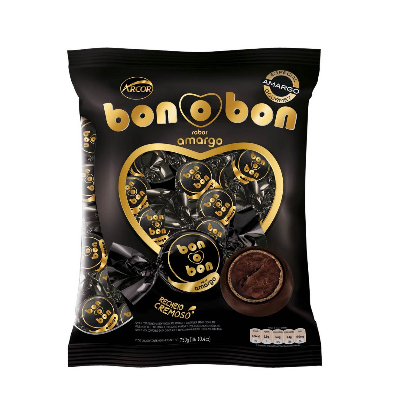 Bolsa de Bombom de Chocolate Bonobon Amargo 15g (50 un/cada)