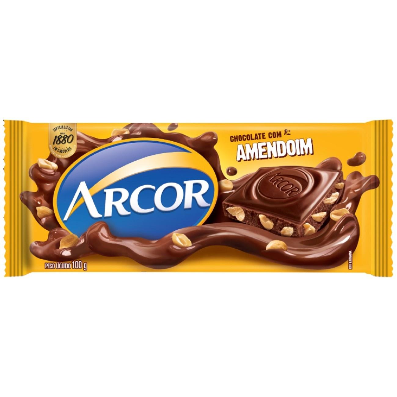 Display de Tablete de Chocolate Arcor Amendoim 100g (14 un/cada)