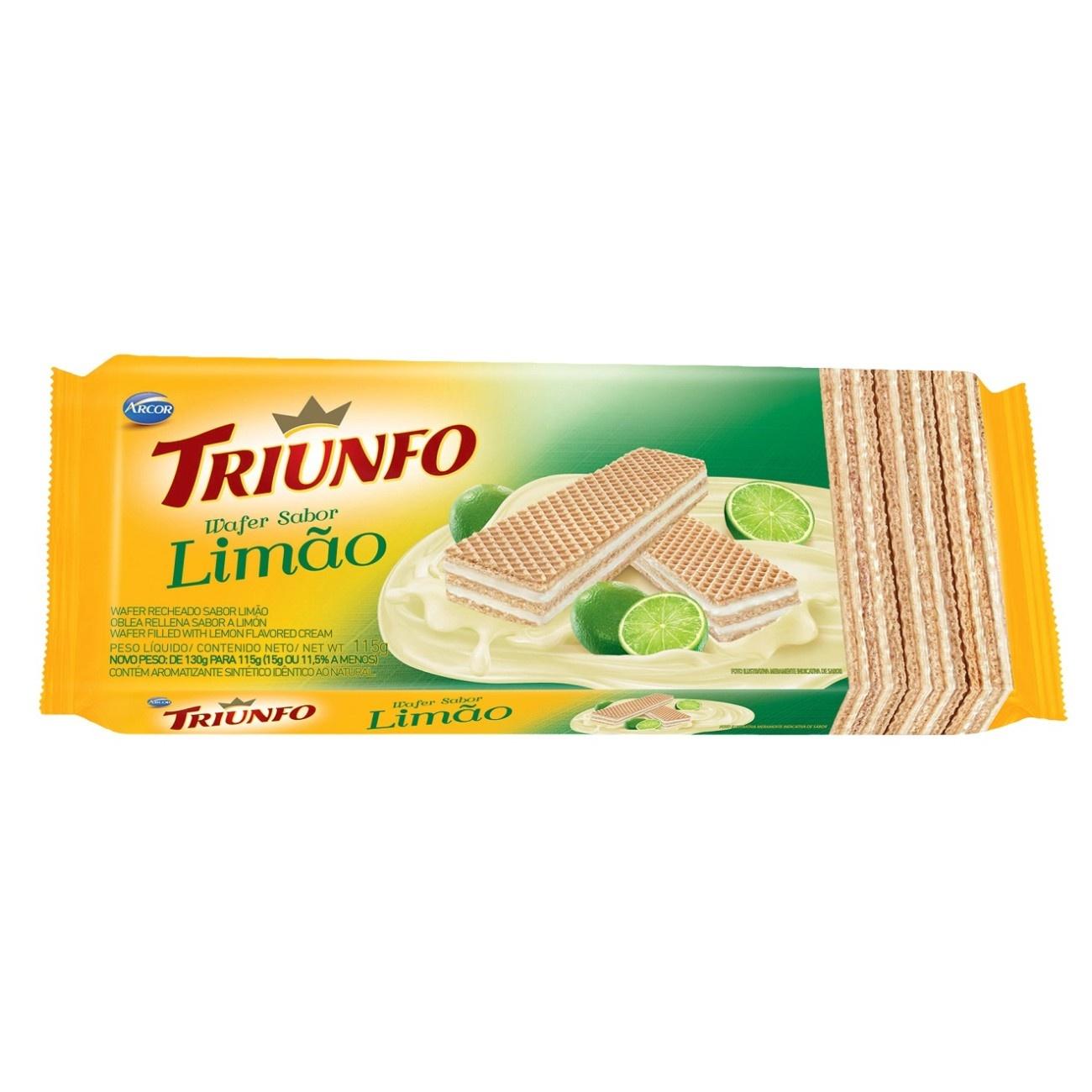 Biscoito Triunfo Wafer Limão 115g