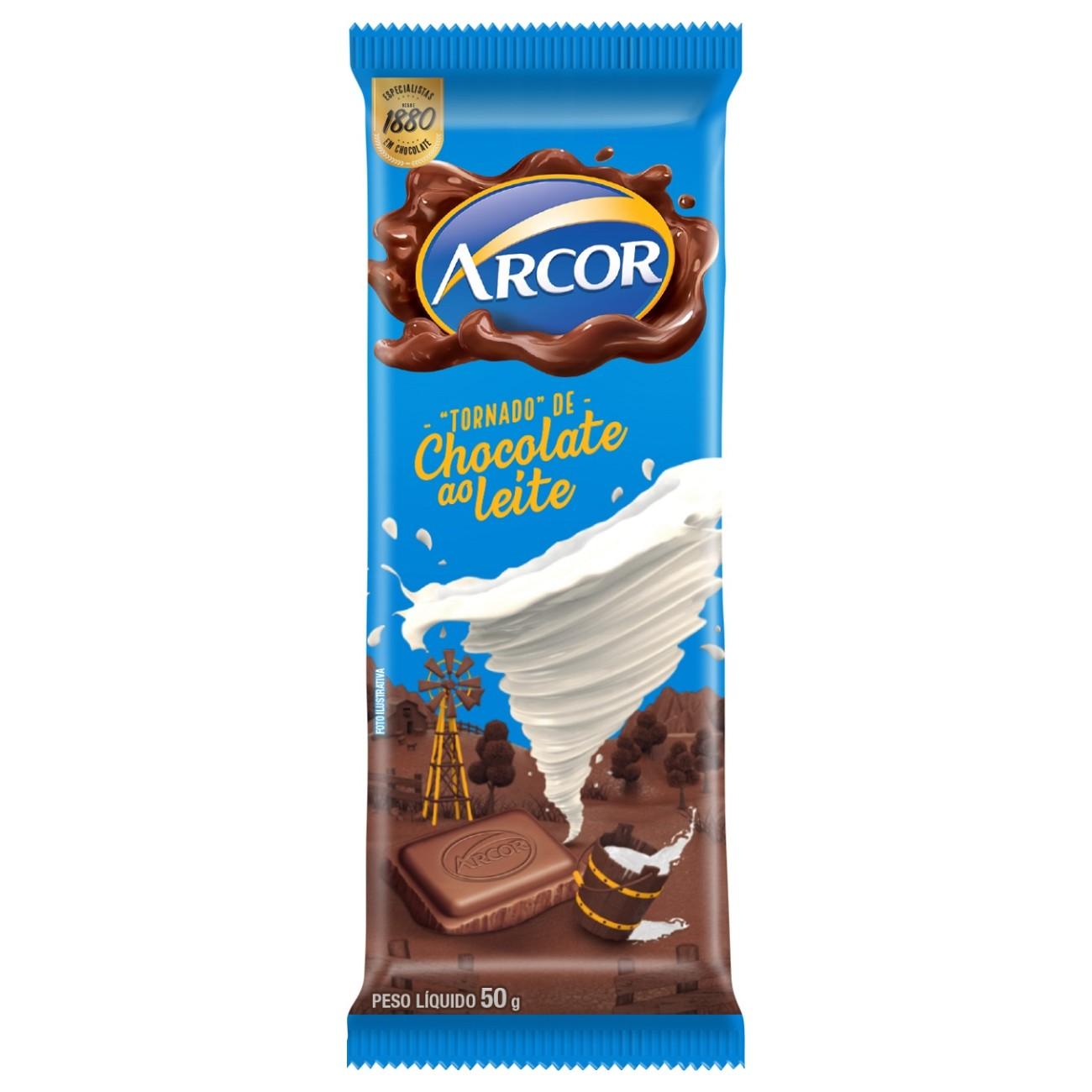 display de Tablete de Chocolate Arcor ao Leite 50g (12 un/cada)