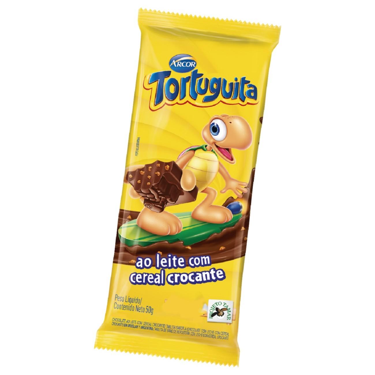 display de Tablete de Chocolate Tortuguita ao Leite com Crocante 50g (12 un/cada)