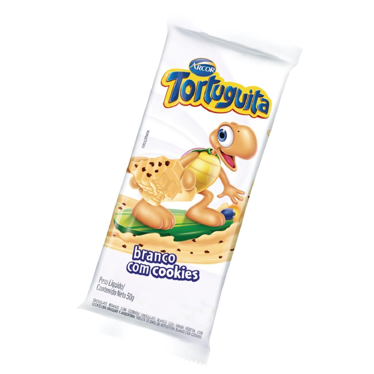 display de Tablete de Chocolate Tortuguita Branco com Cookies 50g (12 un/cada)