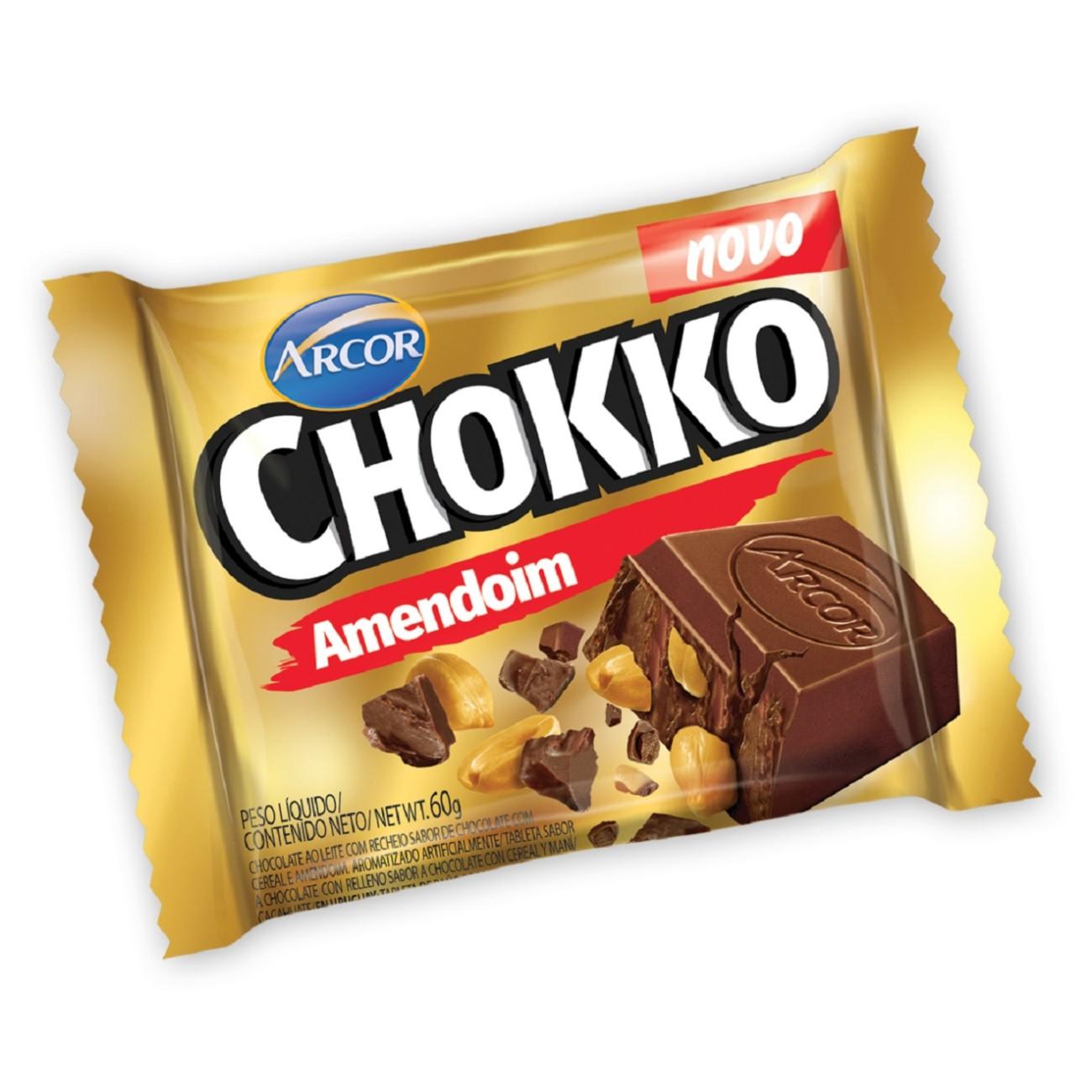 Display de Tablete de Chocolate Chokko com Amendoim 60g (12 un/cada)