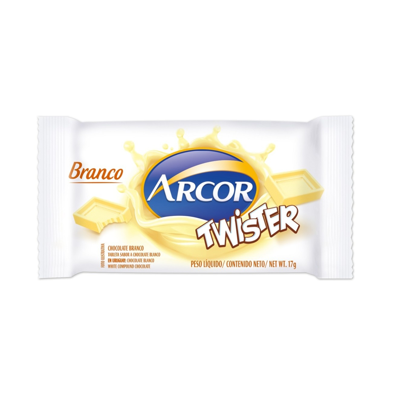 Display de Tablete de Chocolate Twister Branco 17g (24 un/cada)