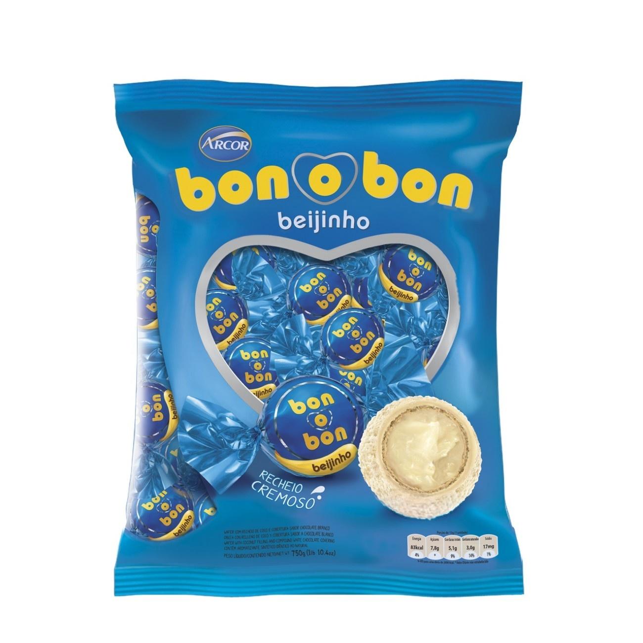 Bolsa de Bombom de Chocolate Bonobon Beijinho 15g (50 un/cada)