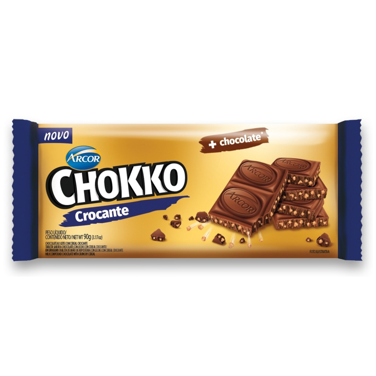 Display de Tablete de Chocolate Chokko com Crocante 90g (12 un/cada)