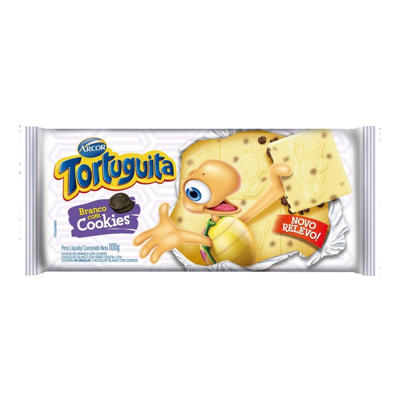Display de Tablete de Chocolate Tortuguita Branco com Cookies 100g (12 un/cada)