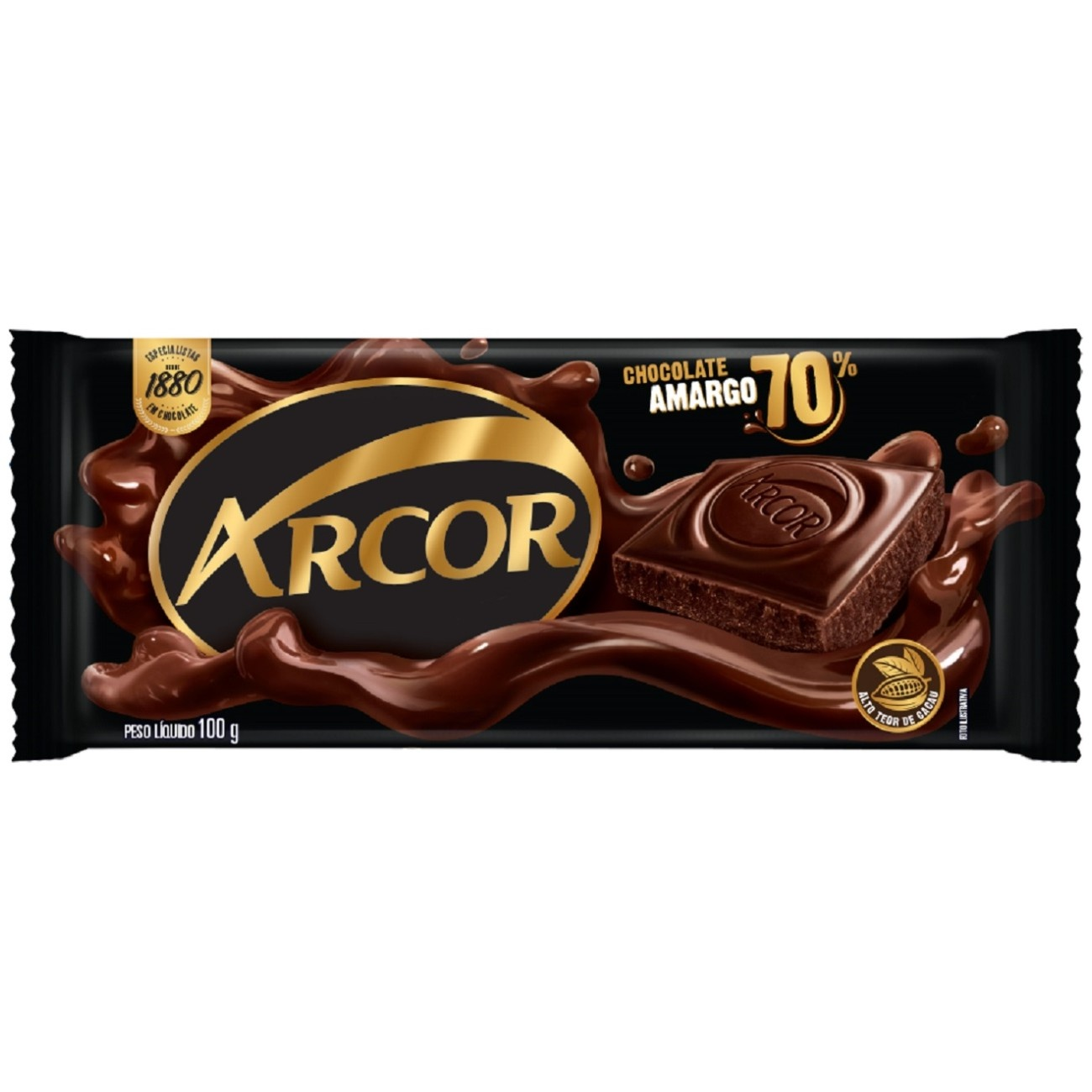 Display de Tablete de Chocolate Arcor Amargo 70% Cacau 100g (14 un/cada)