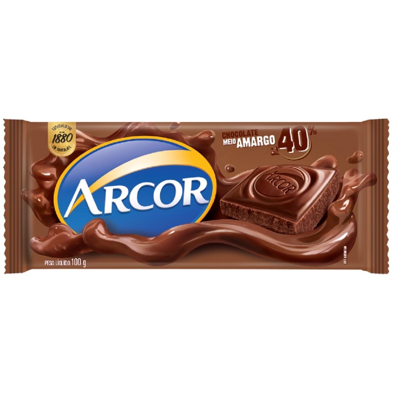 Display de Tablete de Chocolate Arcor Meio Amargo 100g (14 un/cada)