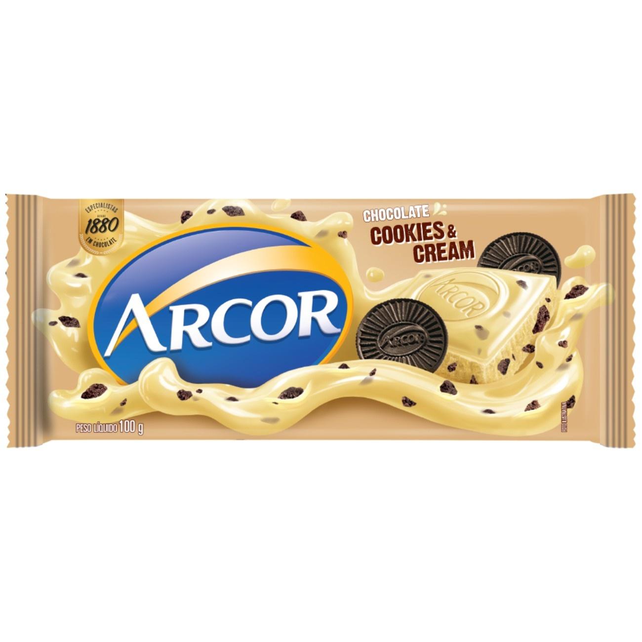 Display de Tablete de Chocolate Arcor Branco com Cookies 100g (14 un/cada)