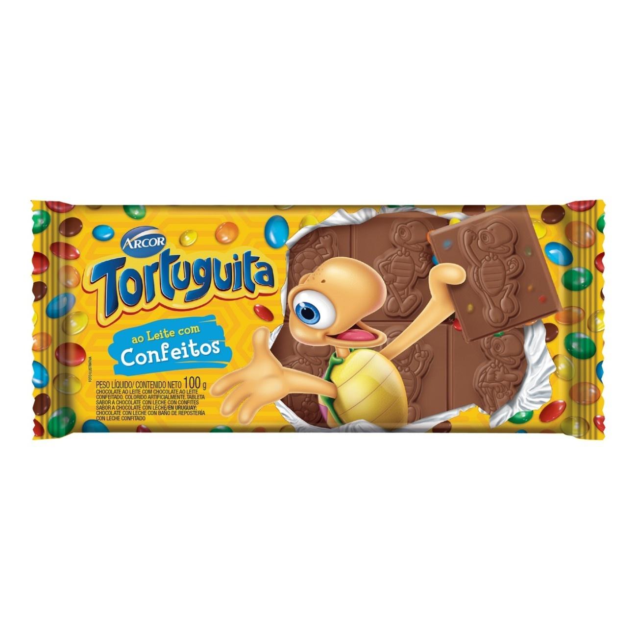 Display de Tablete de Chocolate Tortuguita Leite com Confeitos 100g (12 un/cada)