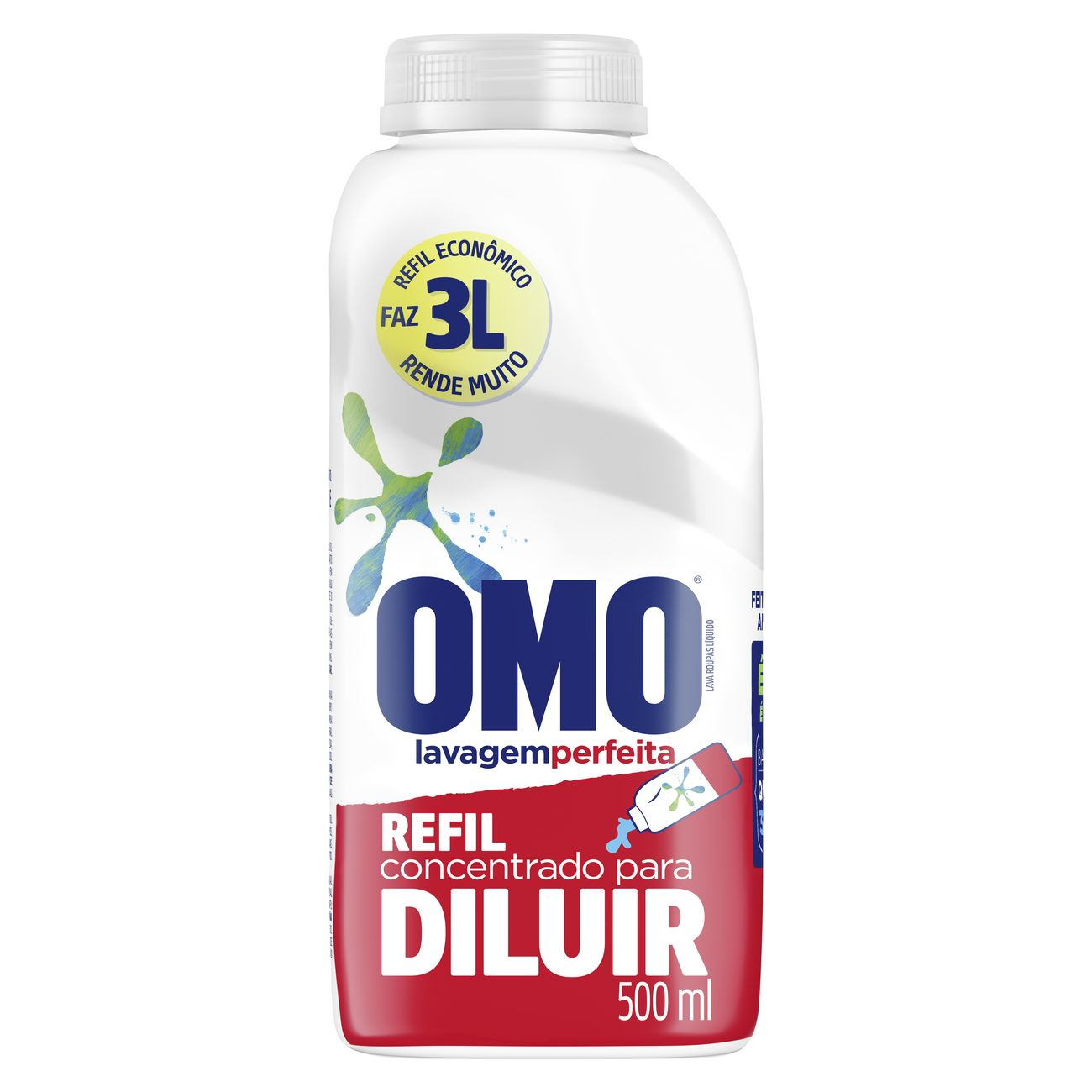Sabão Liquido Concentrado Omo Lavagem Perfeita Refil Econômico 500ml