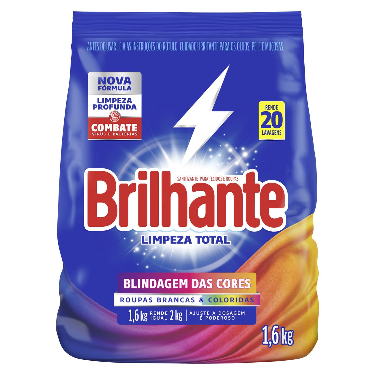 Lava Roupas Sanitizante em Pó Brilhante Limpeza Total 1,6Kg