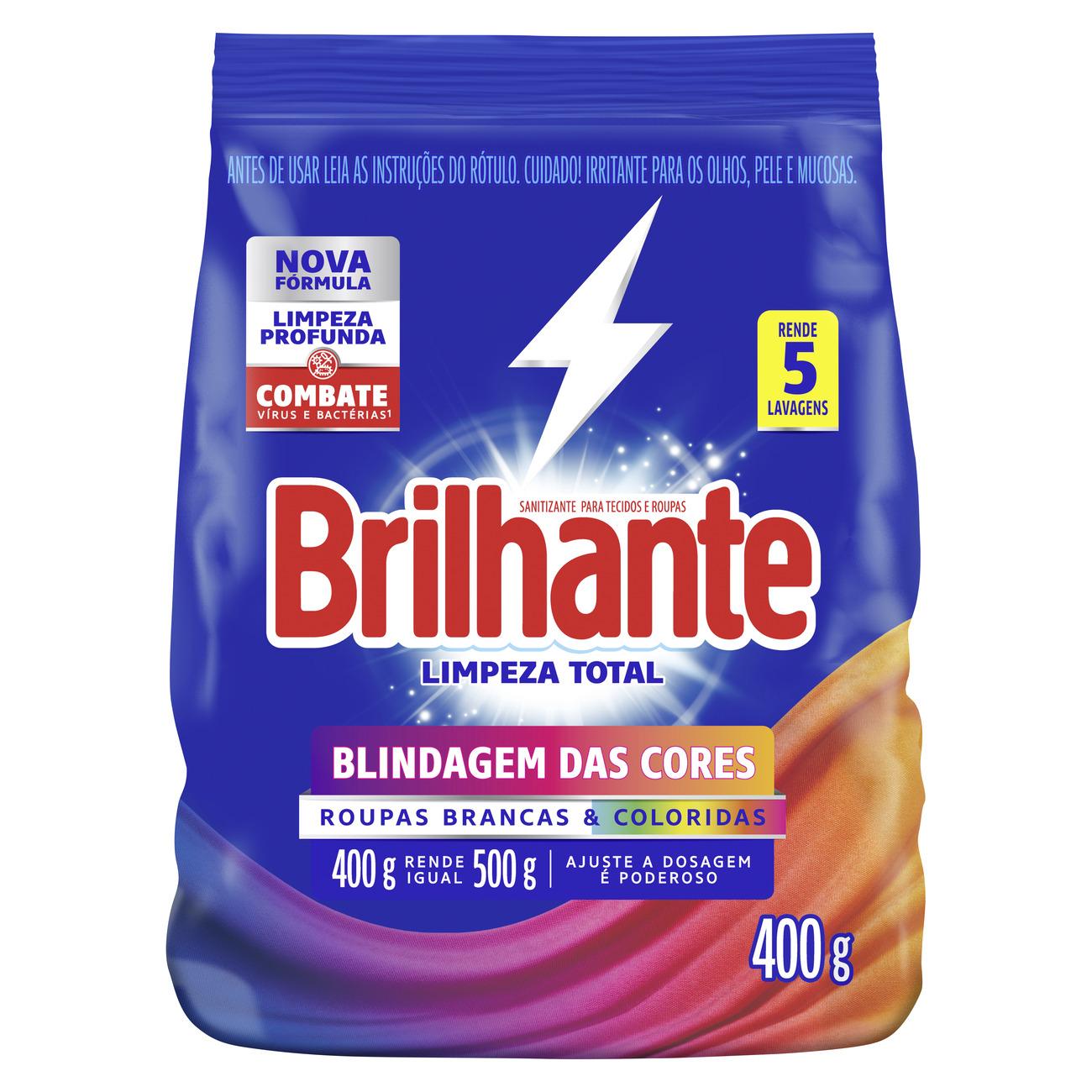 Lava Roupas Sanitizante em Pó Brilhante Limpeza Total 400g