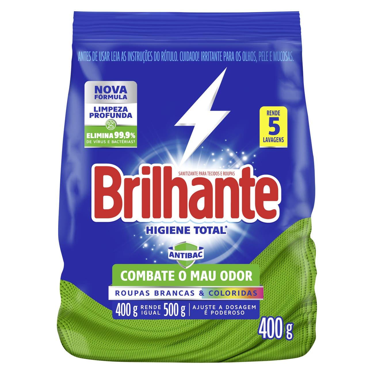 Lava-Roupas em Pó Brilhante  Sanitizante Roupas Brancas e Coloridas Higiene Total Pacote 400g
