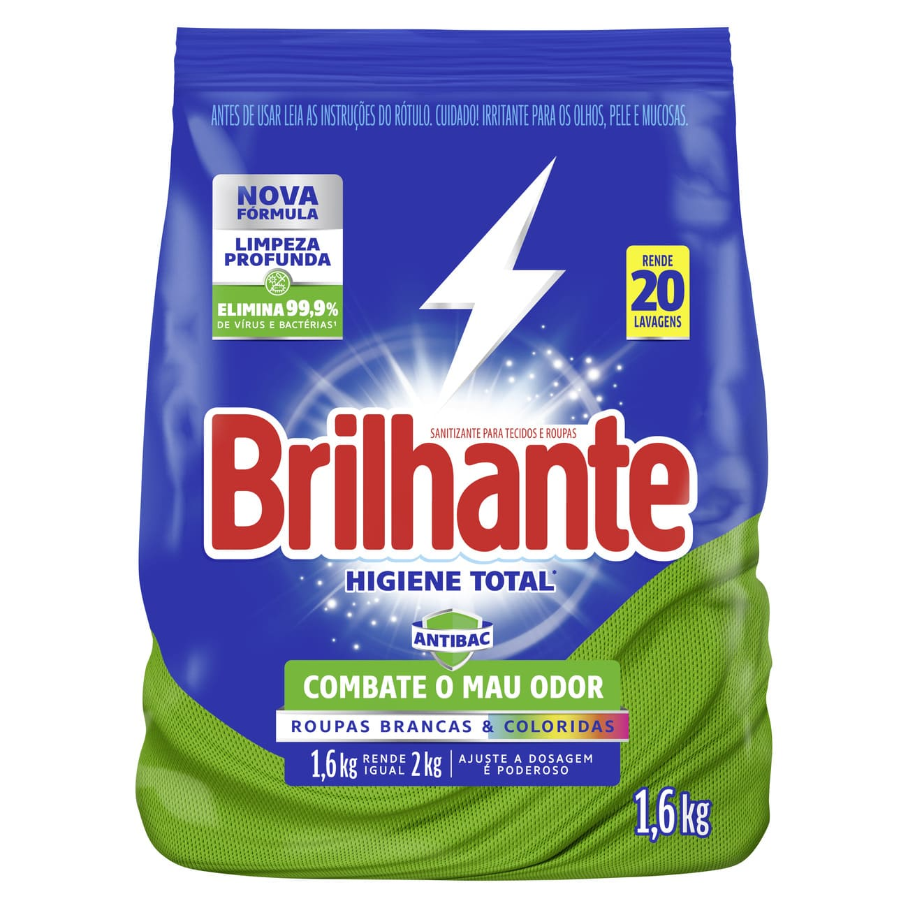 Lava-Roupas em Pó Brilhante Desinfetante Roupas Brancas e Coloridas Higiene Total Pacote 1,6kg