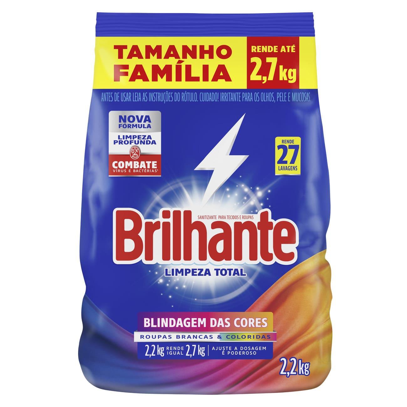 Lava-Roupas em Pó Roupas Brancas e Coloridas Brilhante Sanitizante Limpeza Total Pacote 2,2kg Tamanho Família