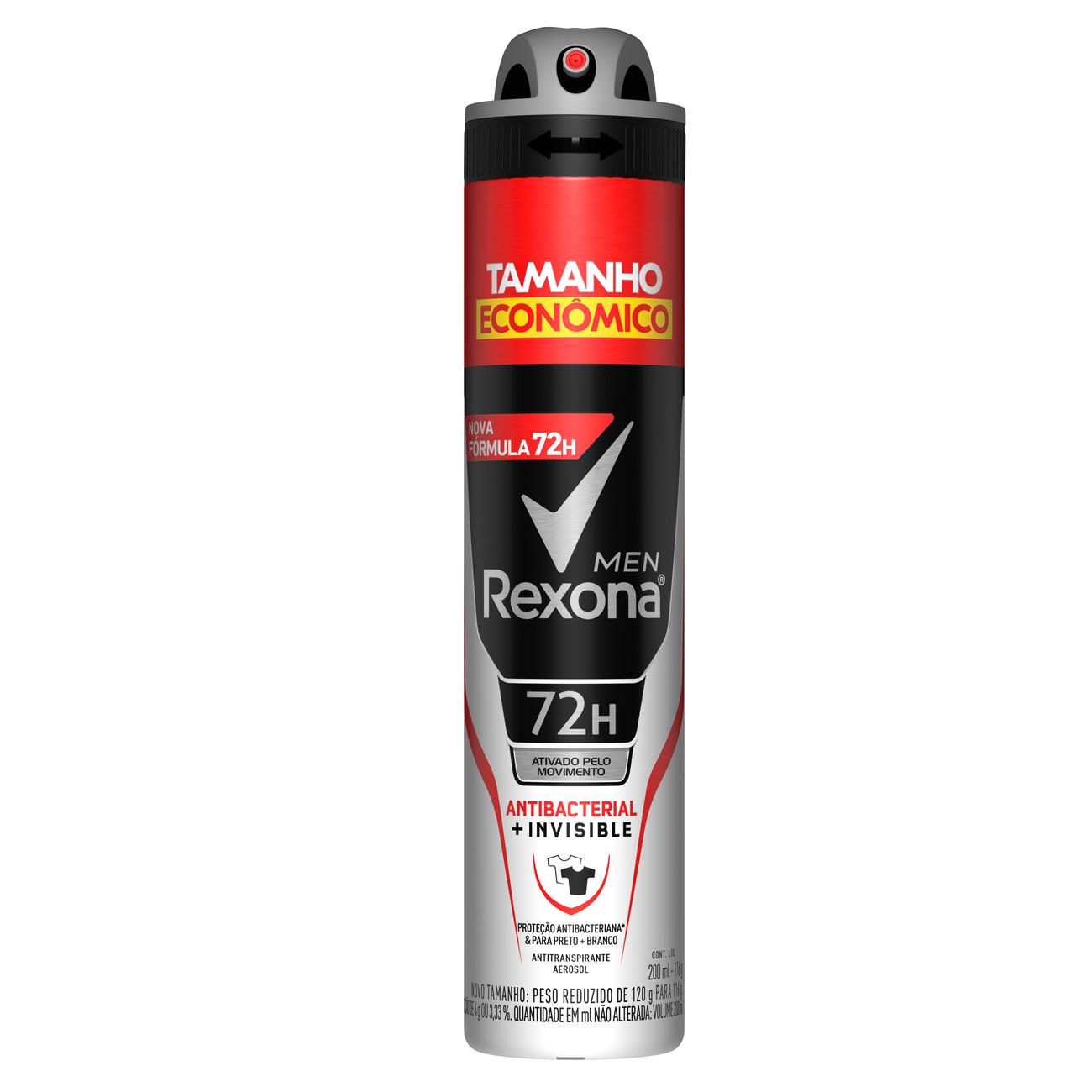 Desodorante Aerosol Antitranspirante Rexona Men Antibacterial + Invisible 72 horas 200mL