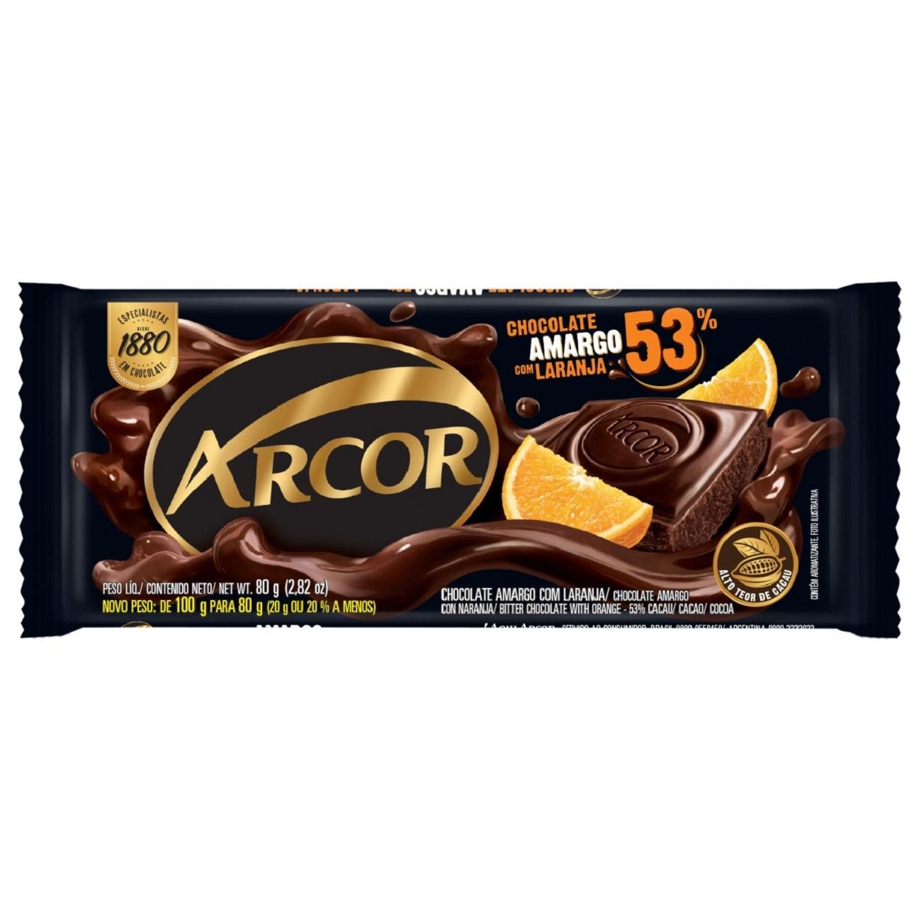 Display de Tablete de Chocolate Arcor Amargo 53% com Laranja 80g (12 un/cada)