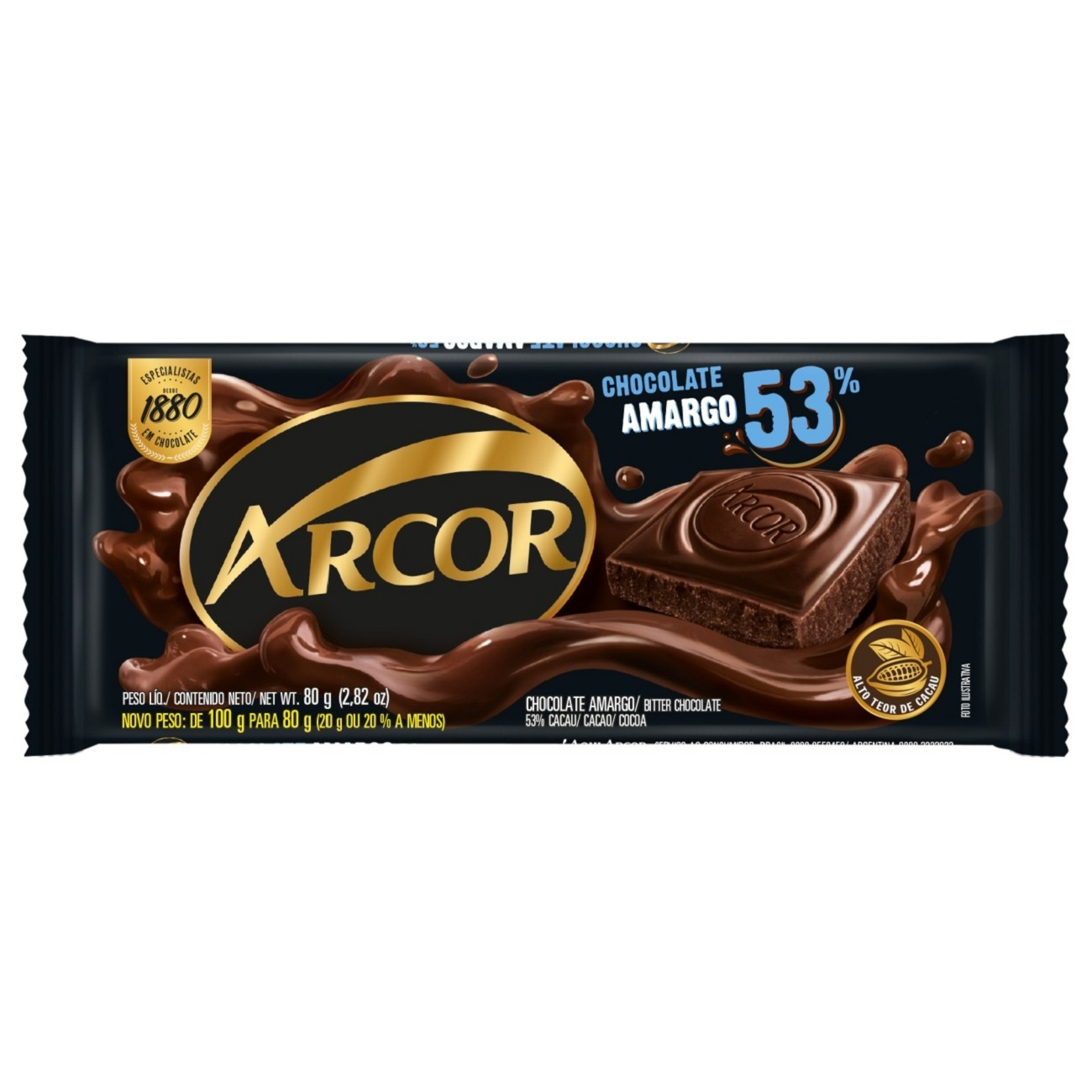Display de Tablete de Chocolate Arcor Amargo 53% Cacau 80g (12 un/cada)