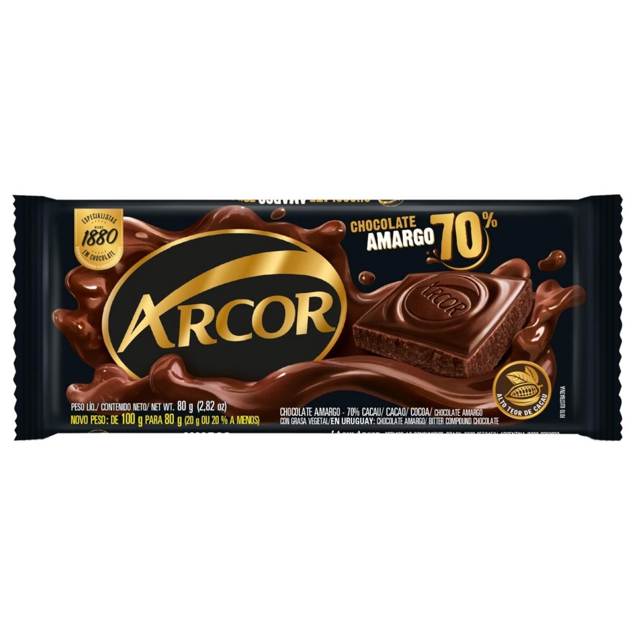 Display de Tablete de Chocolate Arcor Amargo 70% Cacau 80g (12 un/cada)