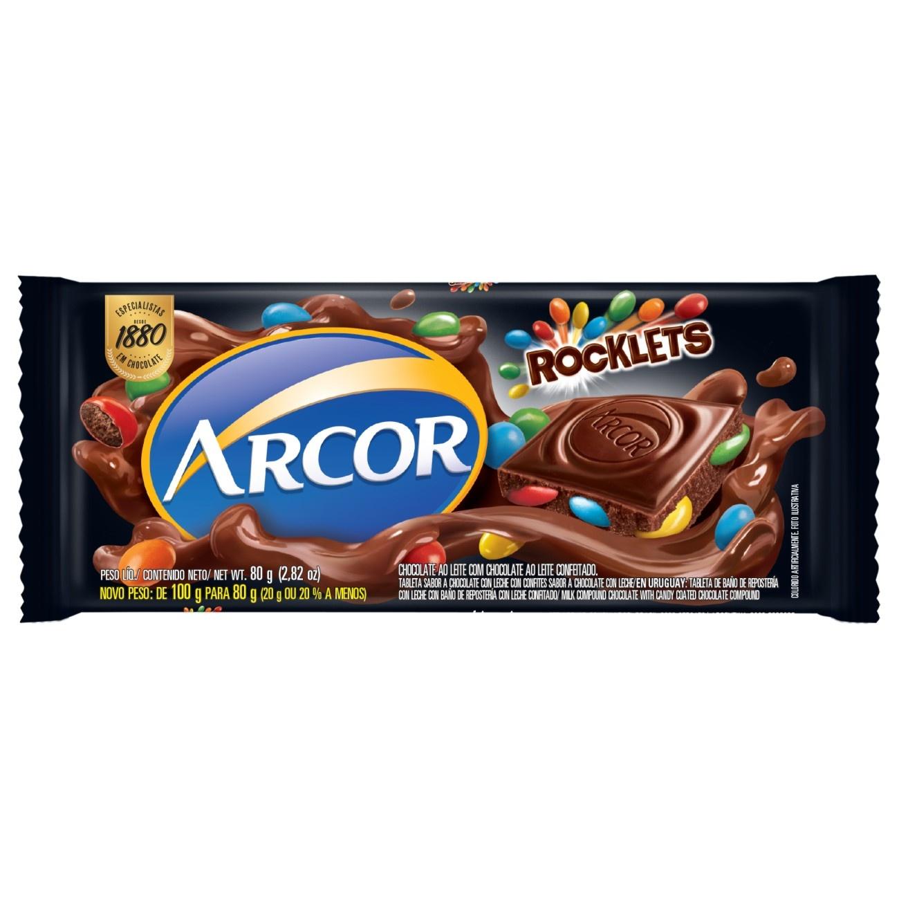 Display de Tablete de Chocolate Arcor Rocklets 80g (12 un/cada)