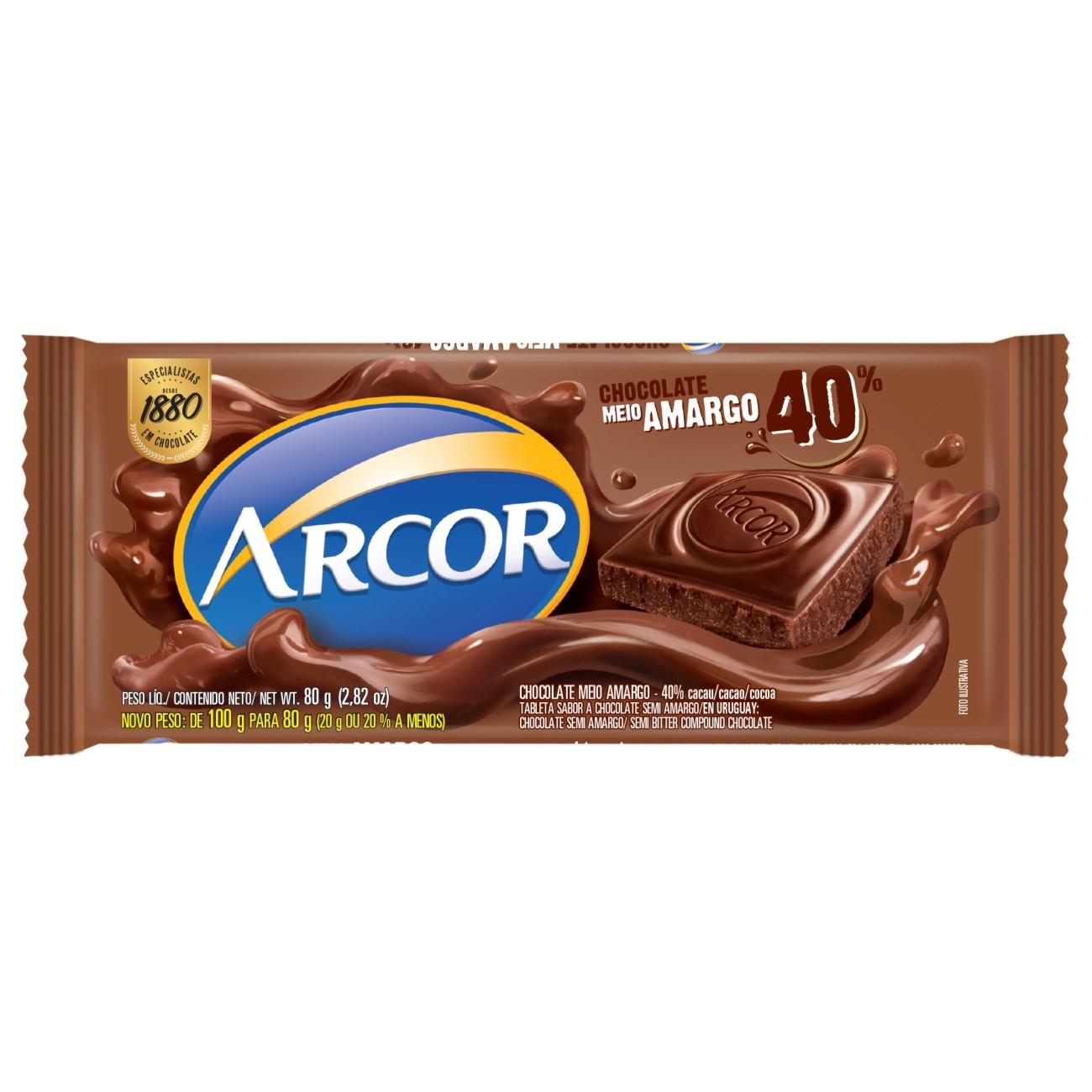 Display de Tablete de Chocolate Arcor Meio Amargo 80g (12 un/cada)