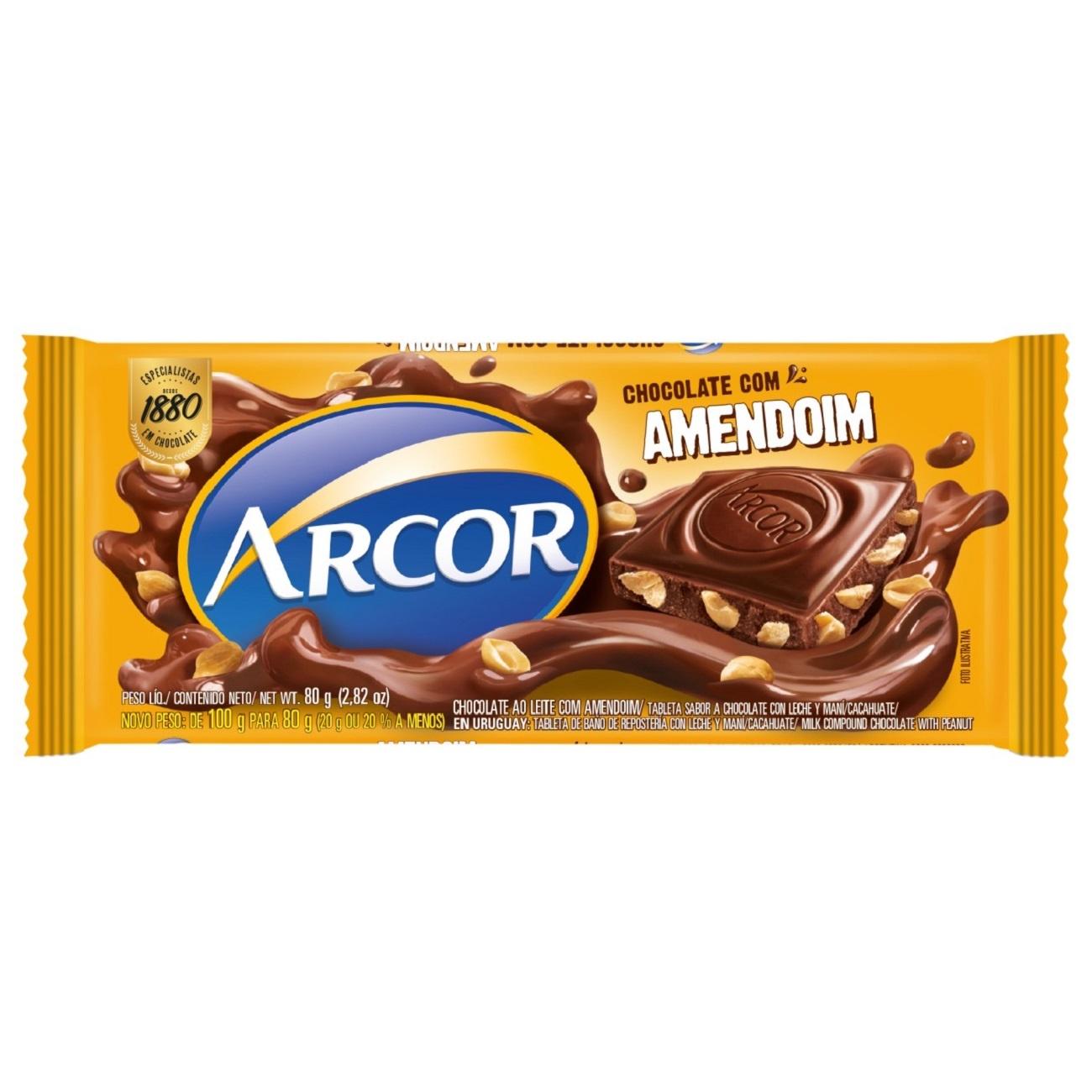 Display de Tablete de Chocolate Arcor Amendoim 80g (12 un/cada)
