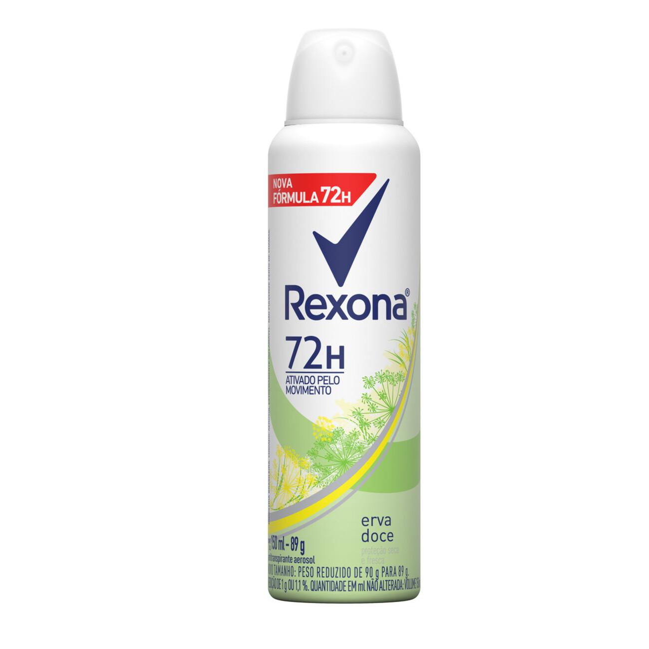 Desodorante Antitranspirante Rexona Feminino Aerosol Erva Doce 72 horas 150mL
