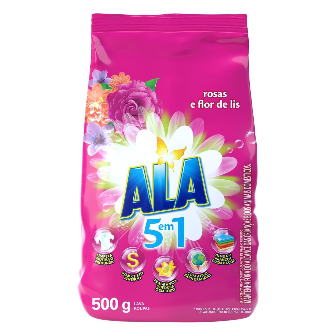 Detergente em Pó ALA Rosas e Flor de Lis 500g